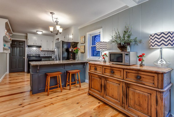 Painted Wood Paneling On Half Walls In Kitchen