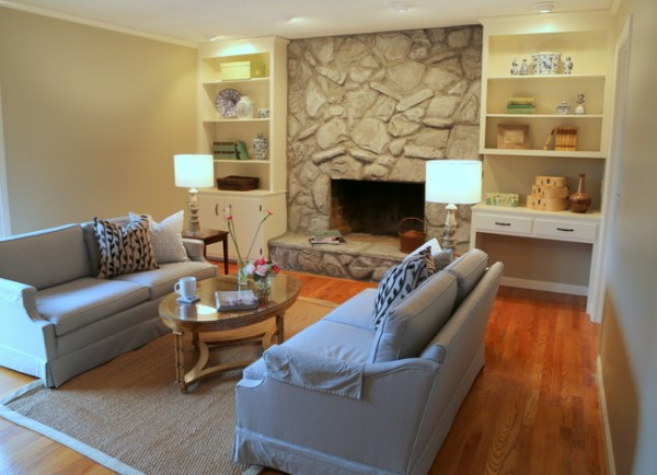 staged paneled living room