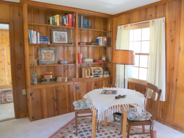 knotty pine bookcase library