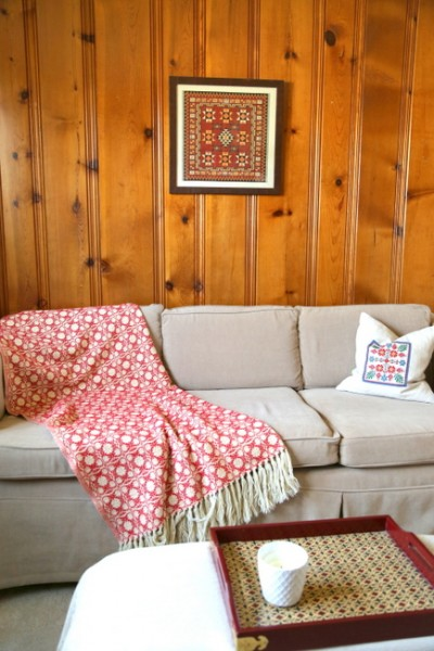 Wood Paneled Den: Designing Around Knotty Pine Wood Paneling