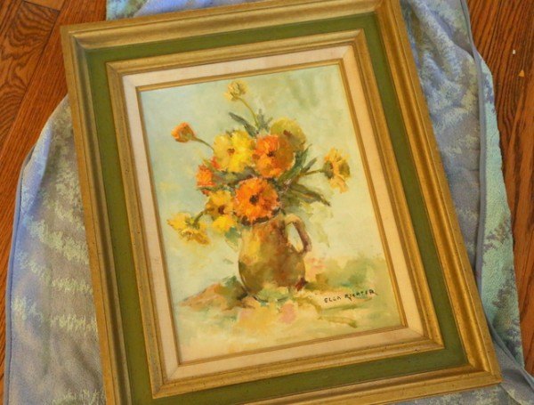 dated floral oil painting