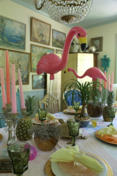 retro palm springs dinner party flamingo