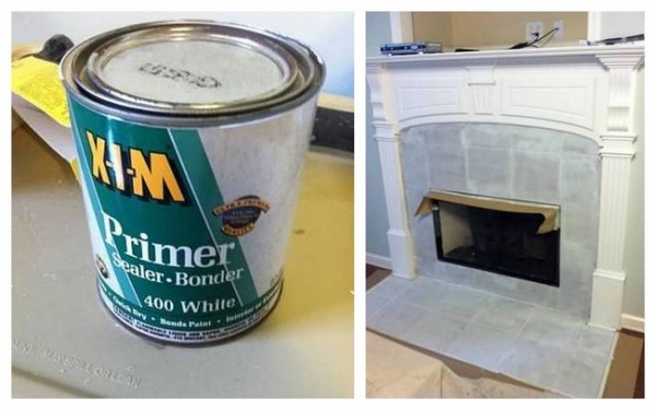 painting tile fireplace