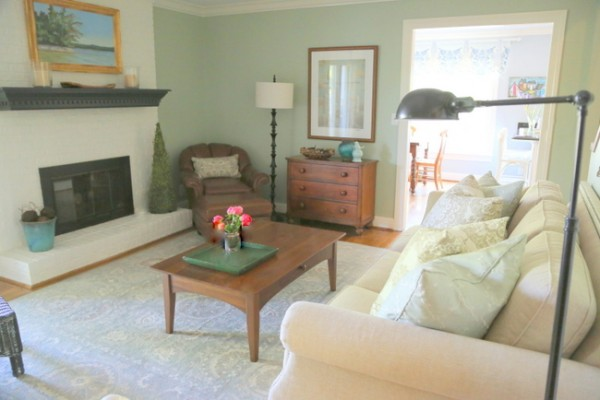 Mint Green Paint Color. Living Room After