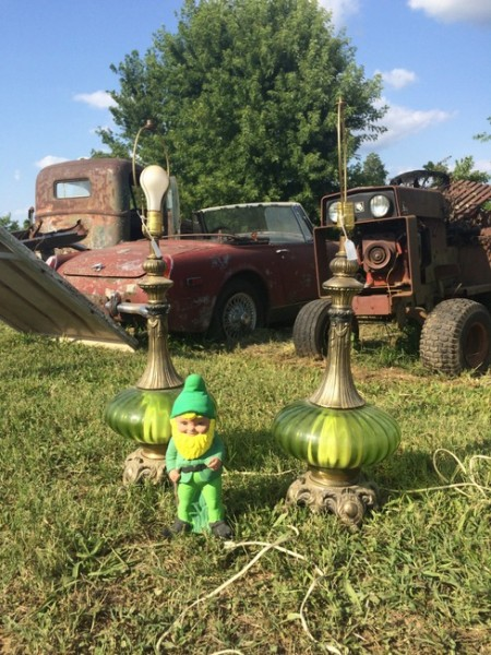 vintage lamps and gnome