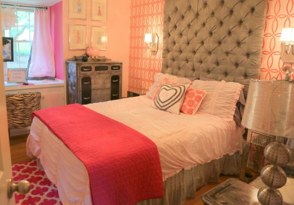 pink and gray girl bedroom