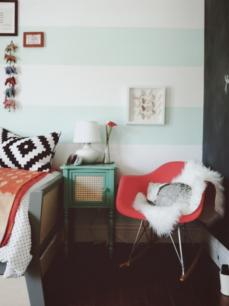 mint and white cabana stripe wall
