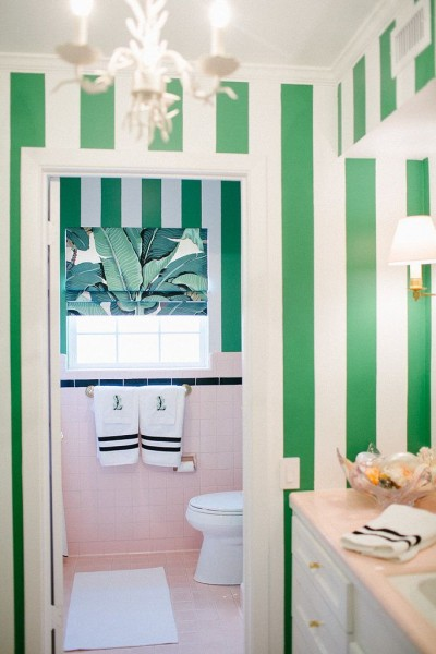sugar casa cabana stripe bathroom