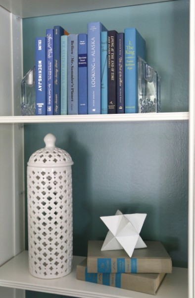 homegoods bookcase styling