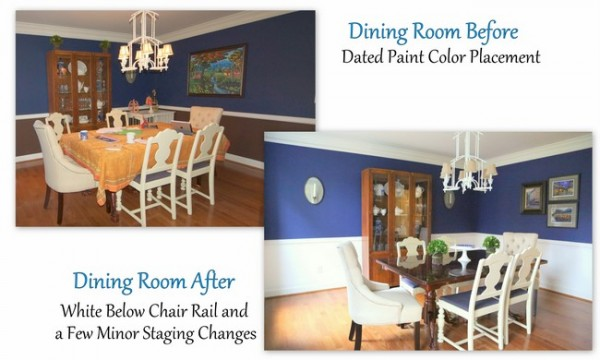 blue dining room staging