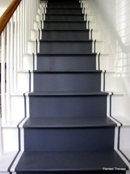 black painted stair runner