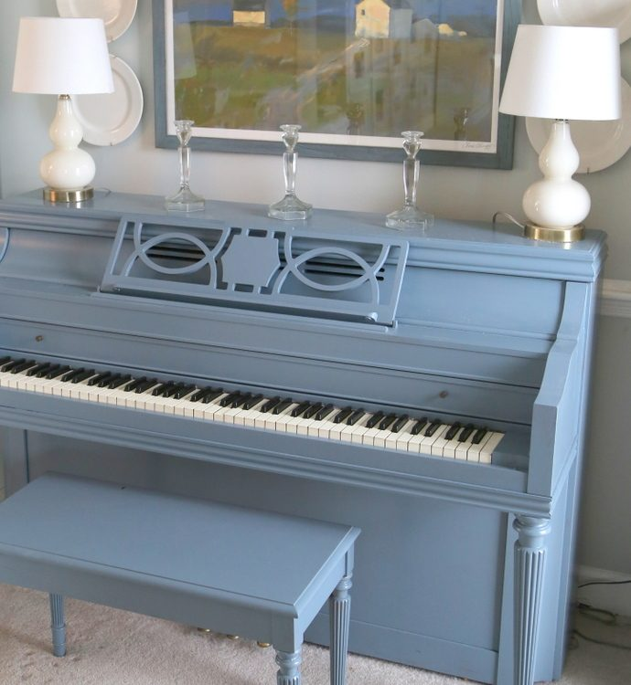 blue painted piano