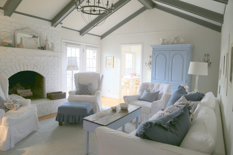blue and white designer living room