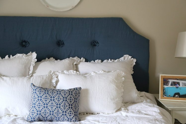 blue upholstered headboard