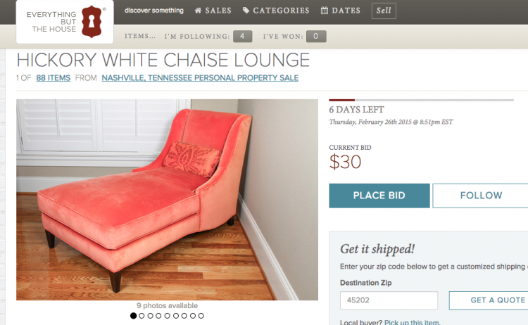 coral chaise