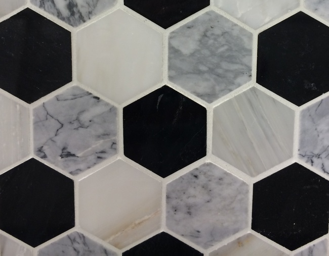 marble bathroom hex tile