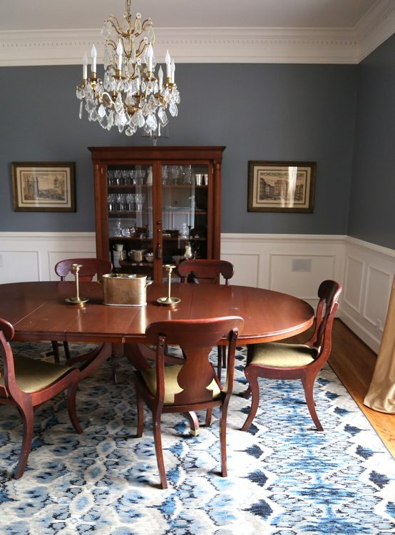 blue designer dining room
