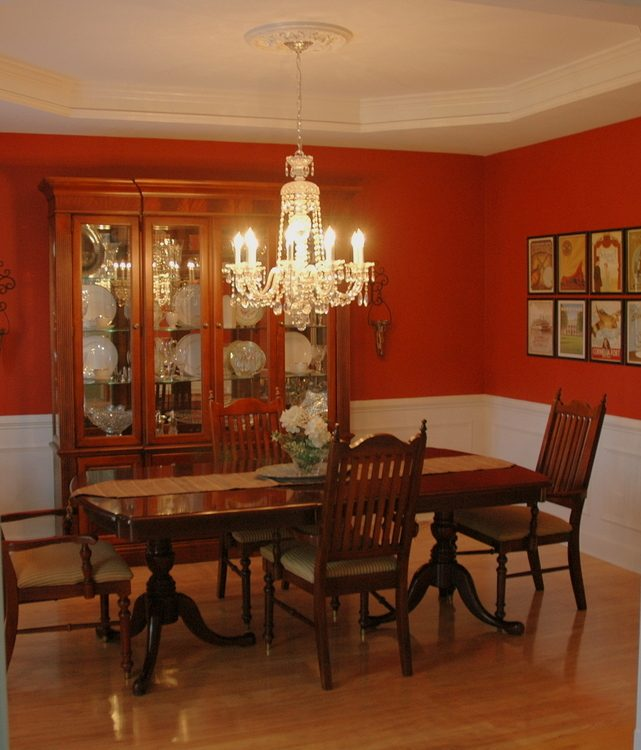 Paint color for dining room with cherry furniture paint for Dining room wall furniture