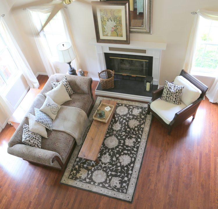arial view of staged living room