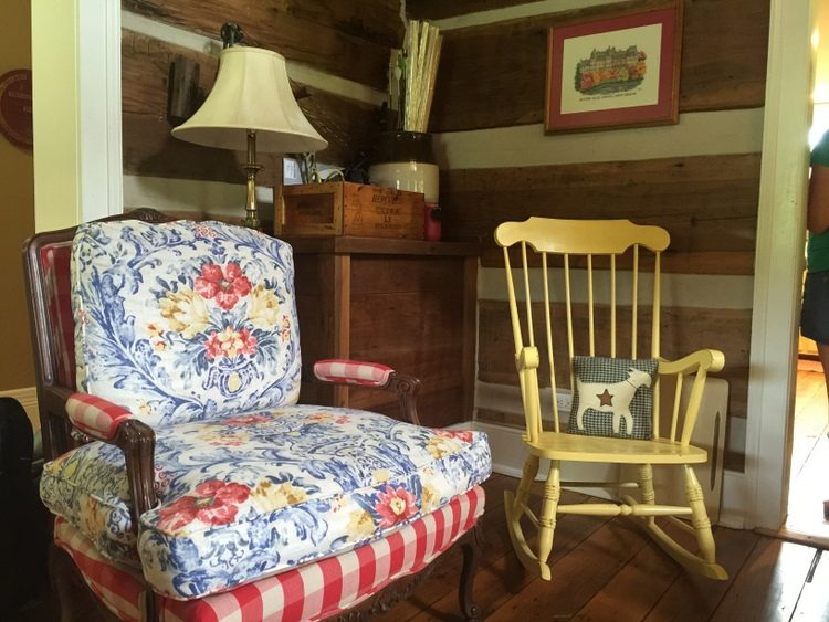 colorful upholstery in log cabin
