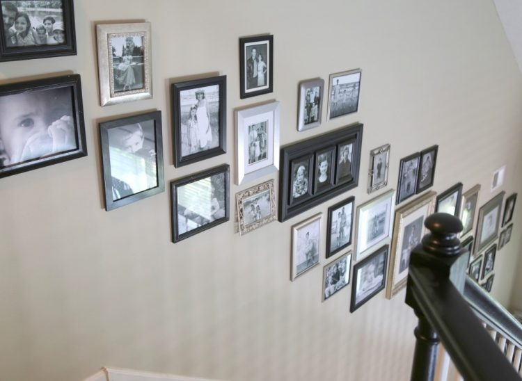 hanging family photos