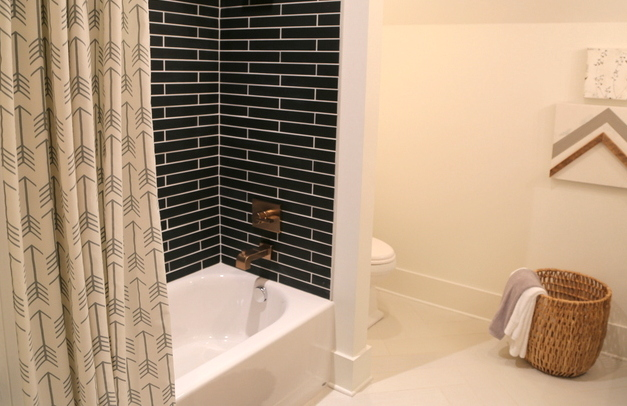 black shower tile