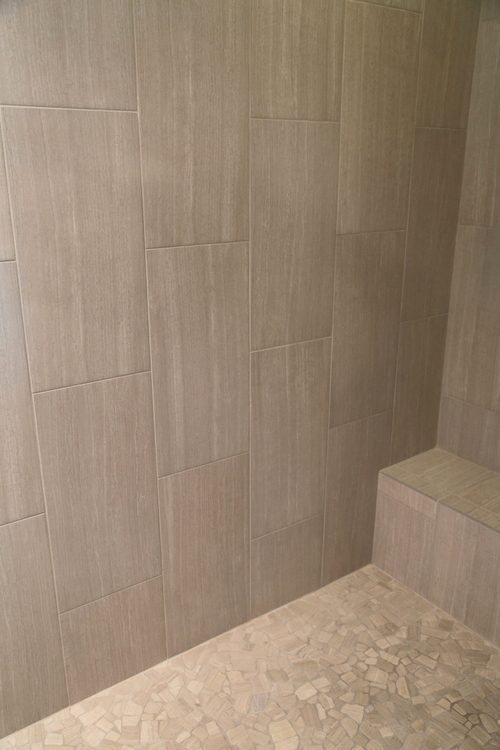 plank wood shower tile