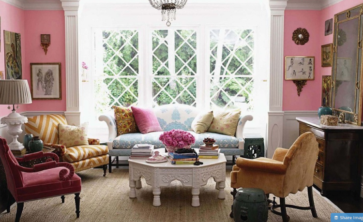 windsor smith pink living room