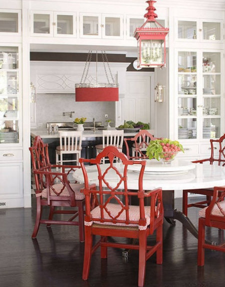 pops of red kitchen dining Windsor Smith