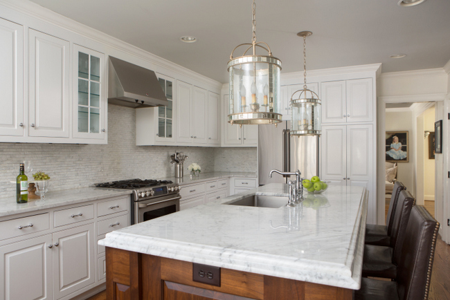 marble countertop in white designer kitchen