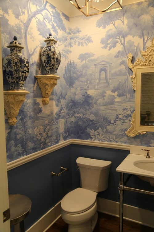 blue toile bathroom