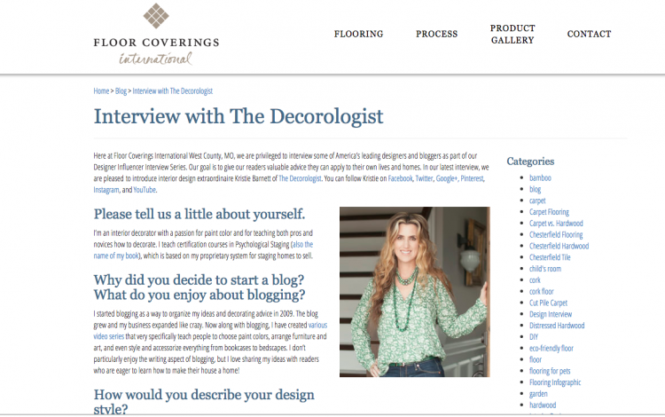 interview with the decorologist