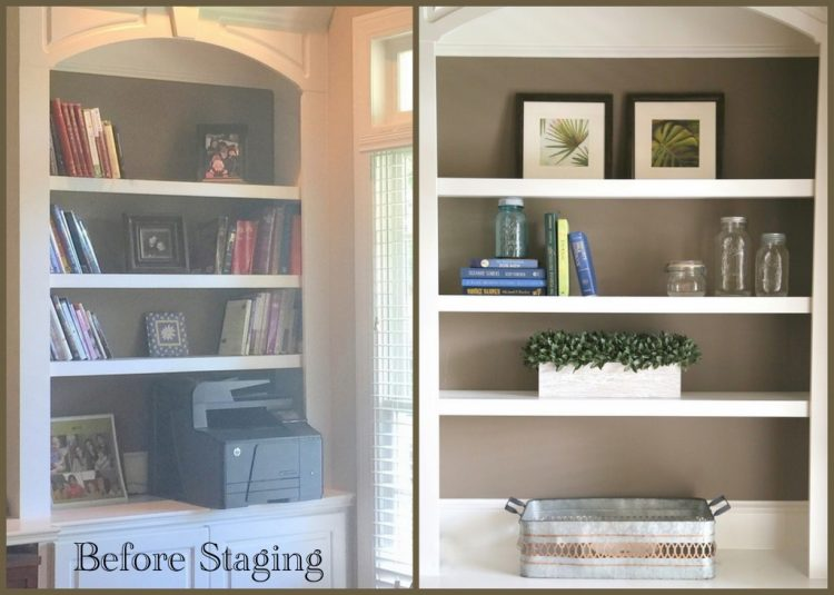 office bookcase before and after