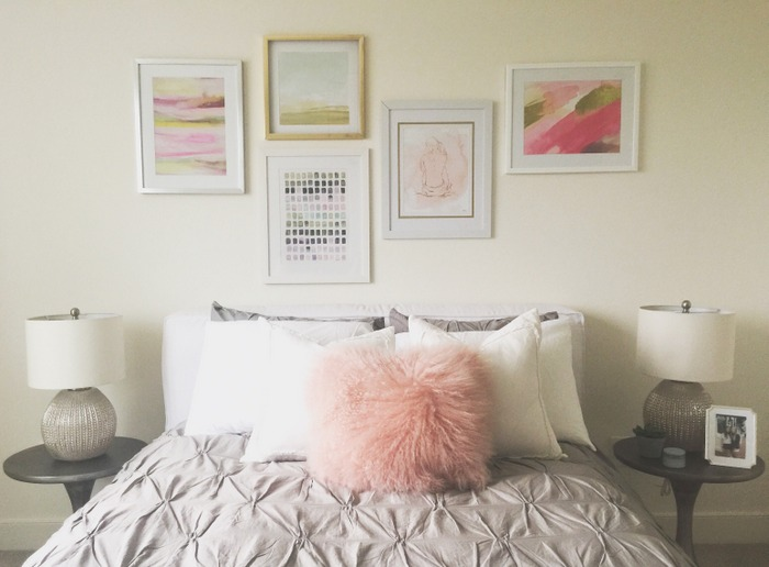 blush pink and gold art grouping