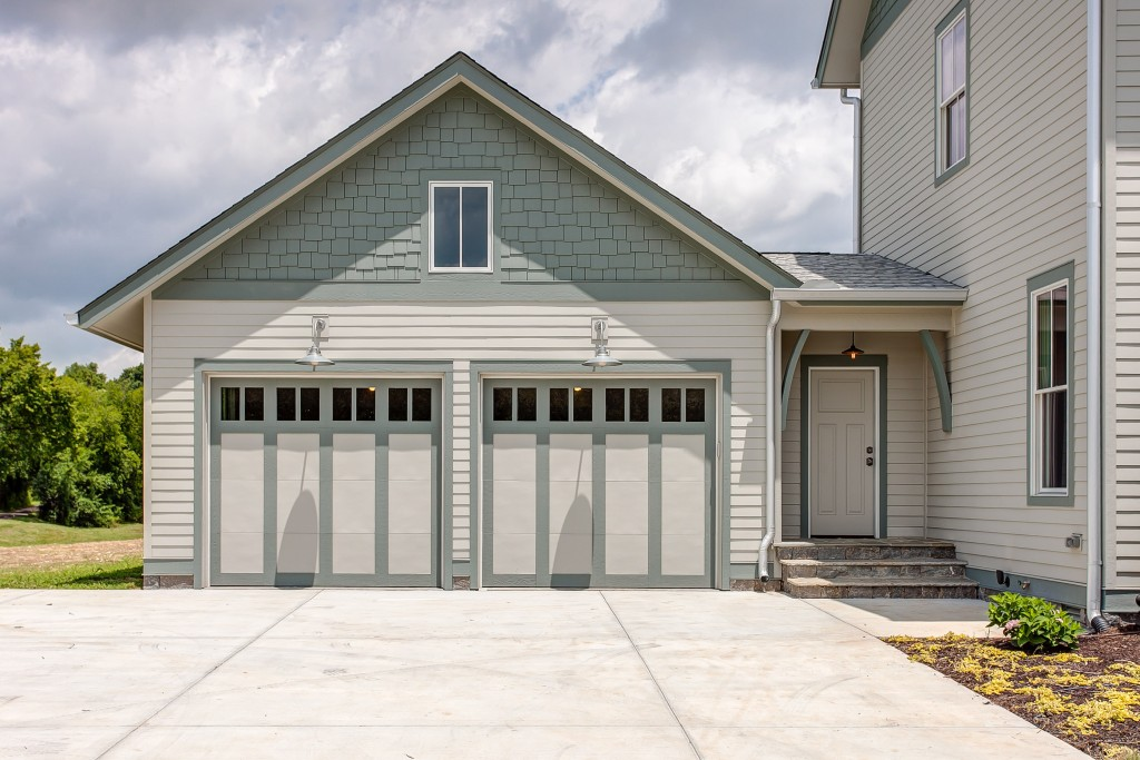 exterior single rustic garage with front steps door paint