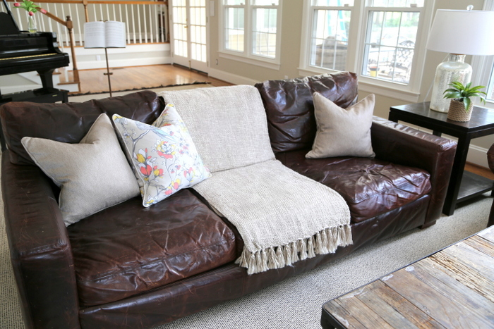 leather sofa pillow styling