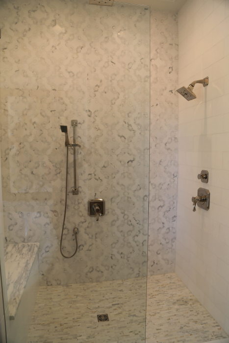 gray white bathroom tile