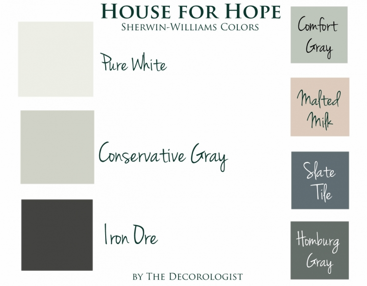 house for hope paint color palette