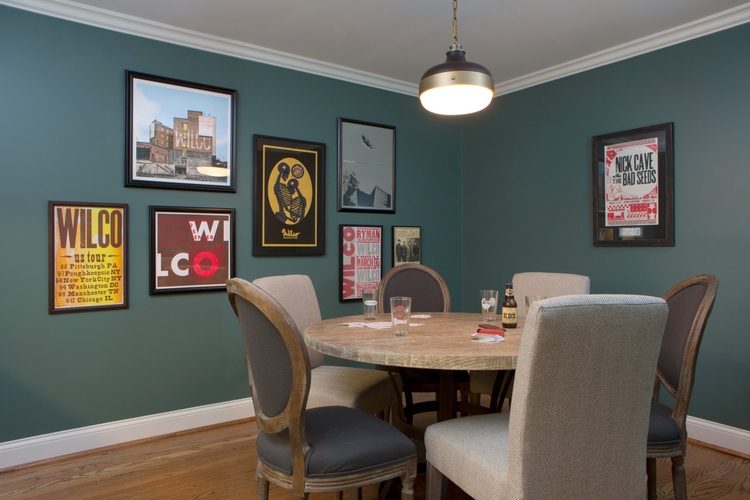 spinach green game room with poster and light ceiling