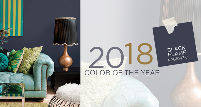 PPG 2018 color of the year black flame with teal couch and green pillows