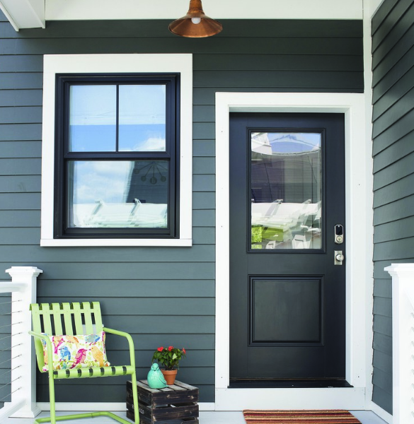 Olympic black magic black window trim and black door