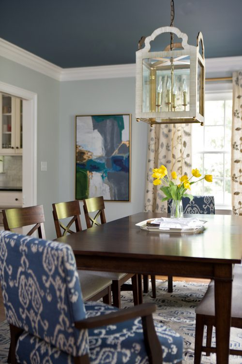 dark blue ceiling and spa blue walls in dining room designed by Kristie Barnett, The Decorologist