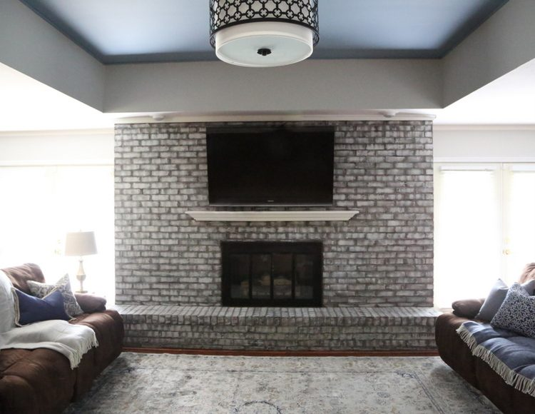 Sherwin-Williams Poolhouse on ceiling with faux painted fireplace makeover