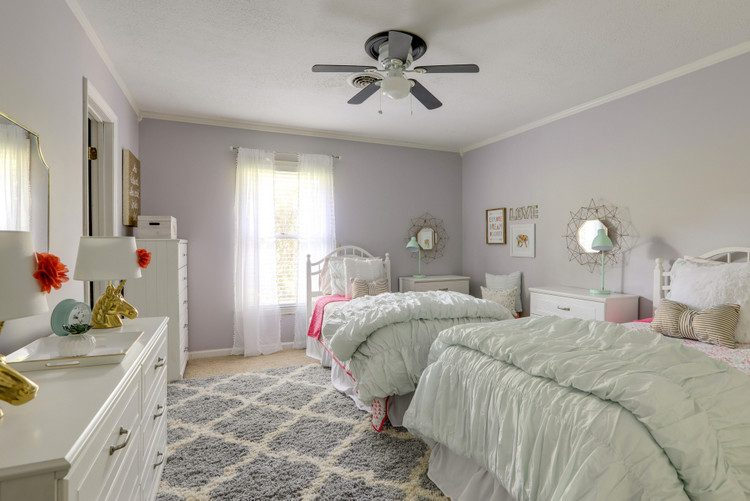 SW Unique Gray paint color in teen girls room by JW Nash and Mint Home Staging