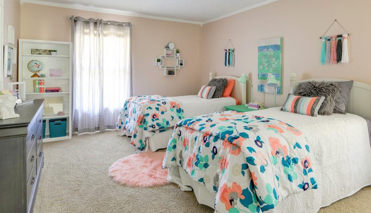 SW6057 Malted Milk paint color on walls of teen girls room by Karen Hattan and Shelley McCoy