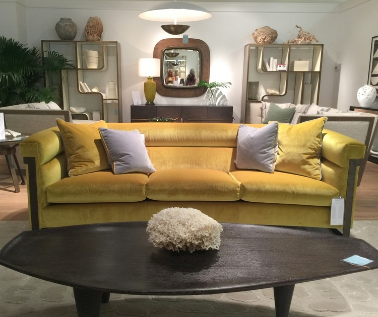 yellow velvet sofa in Michael Berman collection at theodore alexander