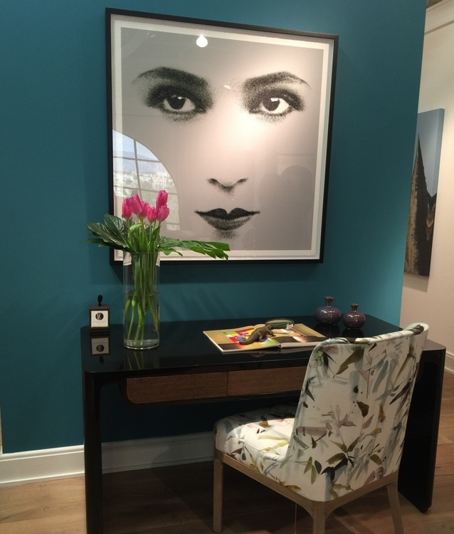 teal wall in Theodore Alexander showroom Michael Berman line