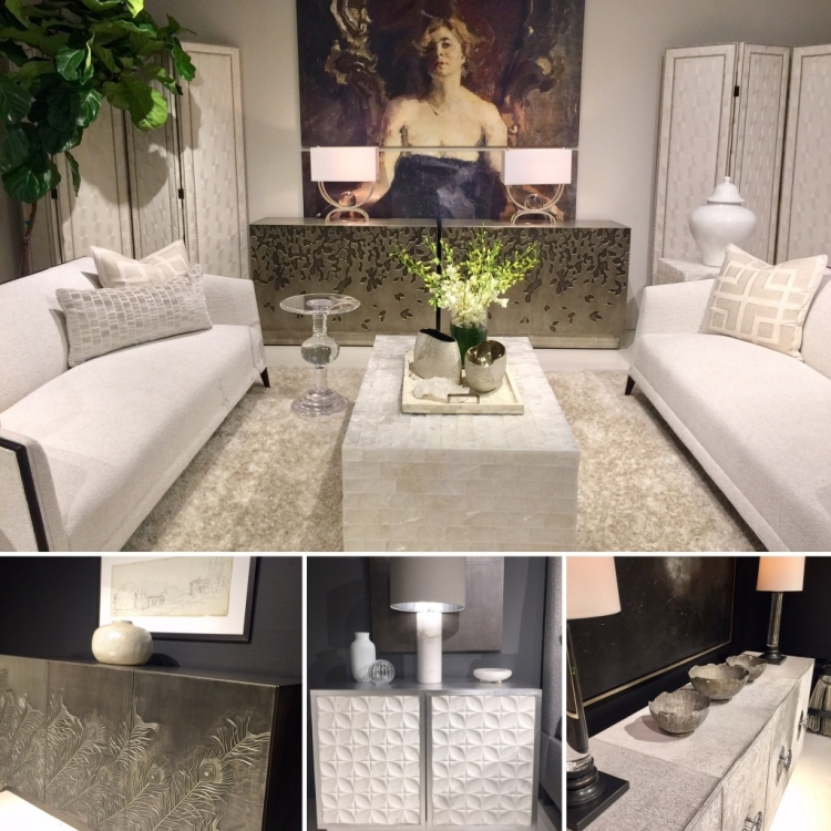 white sofa and upholstery and black walls at bernhardt furniture showroom at high point furniture market