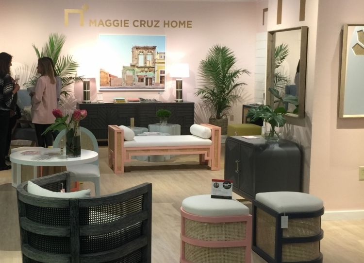 pink wall color in Maggie Cruz Home showroom at High Point