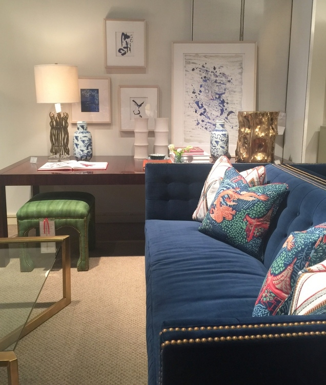dark blue sofa in Century Furniture showroom